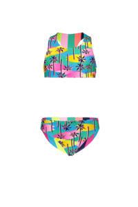 Just Beach reversible crop bikini met all over print roze/blauw/geel, Roze/blauw/geel/navy/groen