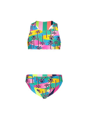 reversible crop bikini met all over print roze/blauw/geel
