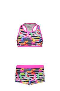 Just Beach crop bikini met all over print roze/donkerblauw/wit, Roze/Donkerblauw/Wit