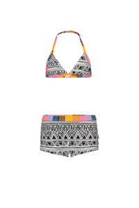 Just Beach triangel bikini met all over print zwart/wit/multi, Zwart/wit/multi color