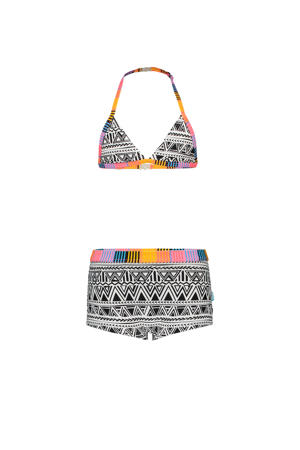 triangel bikini met all over print zwart/wit/multi