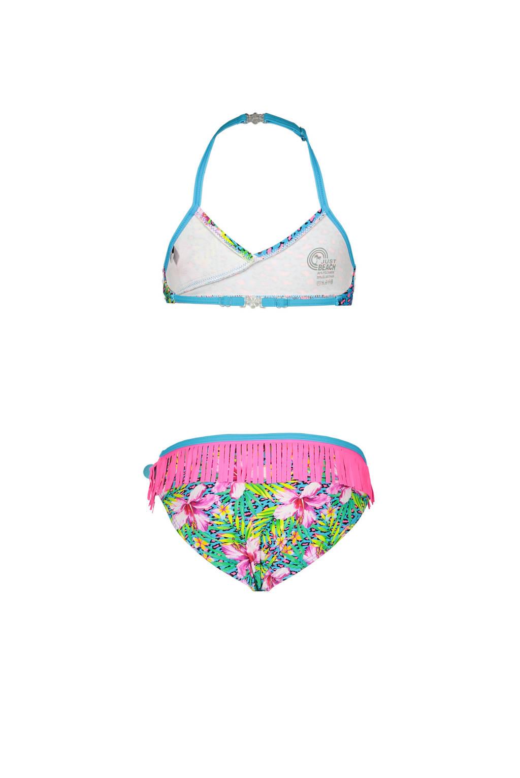 Just Beach triangel bikini met all over print roze/blauw, Roze/blauw