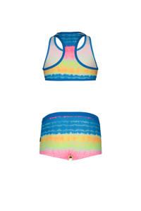 Just Beach crop bikini met all over print roze/blauw, roze/blauw/zwart/wit