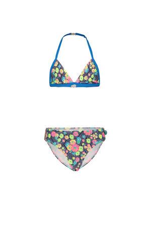 gebloemde triangel bikini blauw/roze/geel