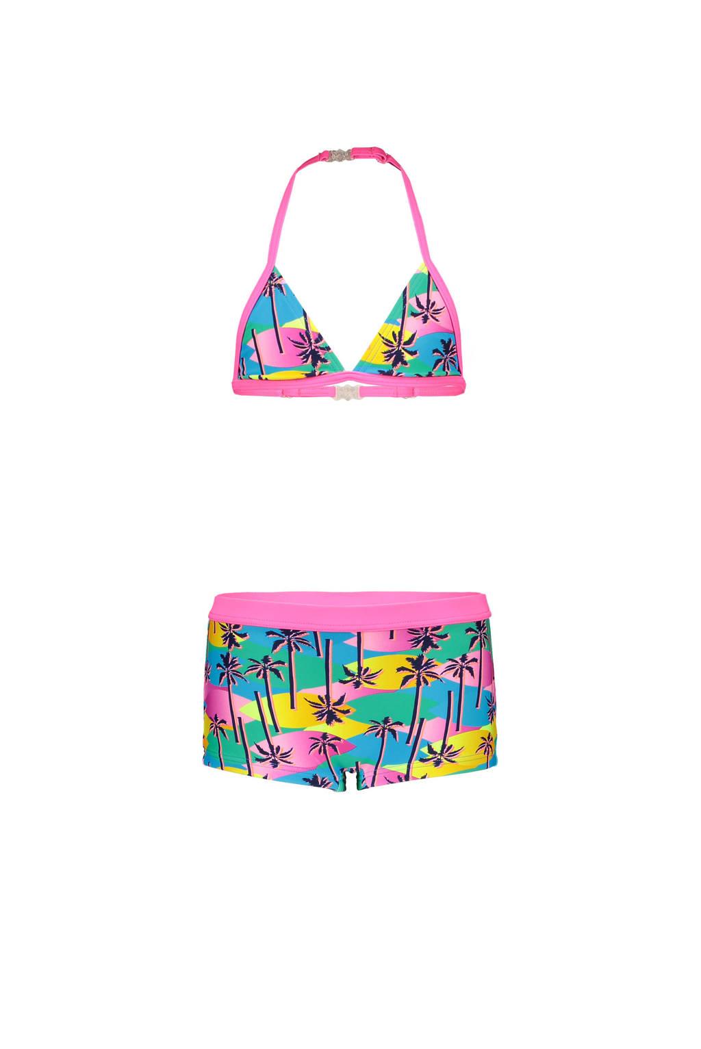 Just Beach triangel bikini met all over print roze/blauw/geel, Roze/blauw/geel