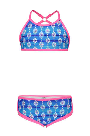 crop bikini met all over print blauw/wit/roze