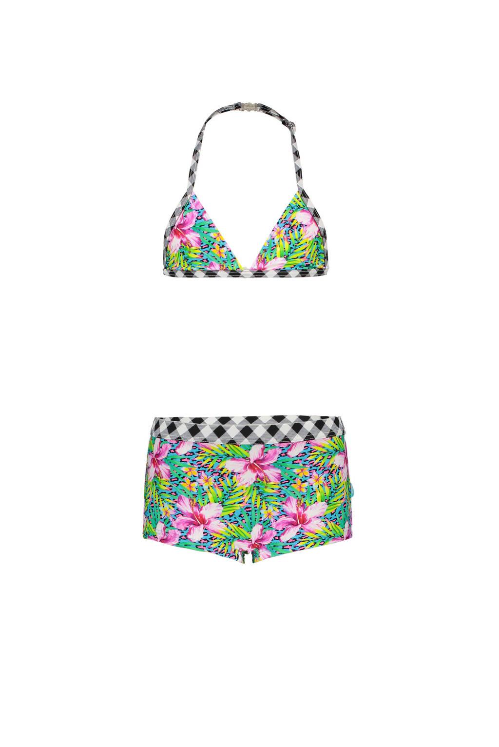 Just Beach triangel bikini met all over print roze/blauw, roze/blauw/zwart/wit