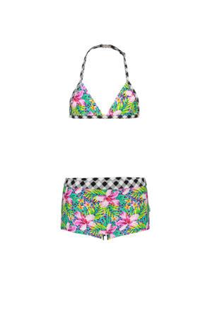 triangel bikini met all over print roze/blauw