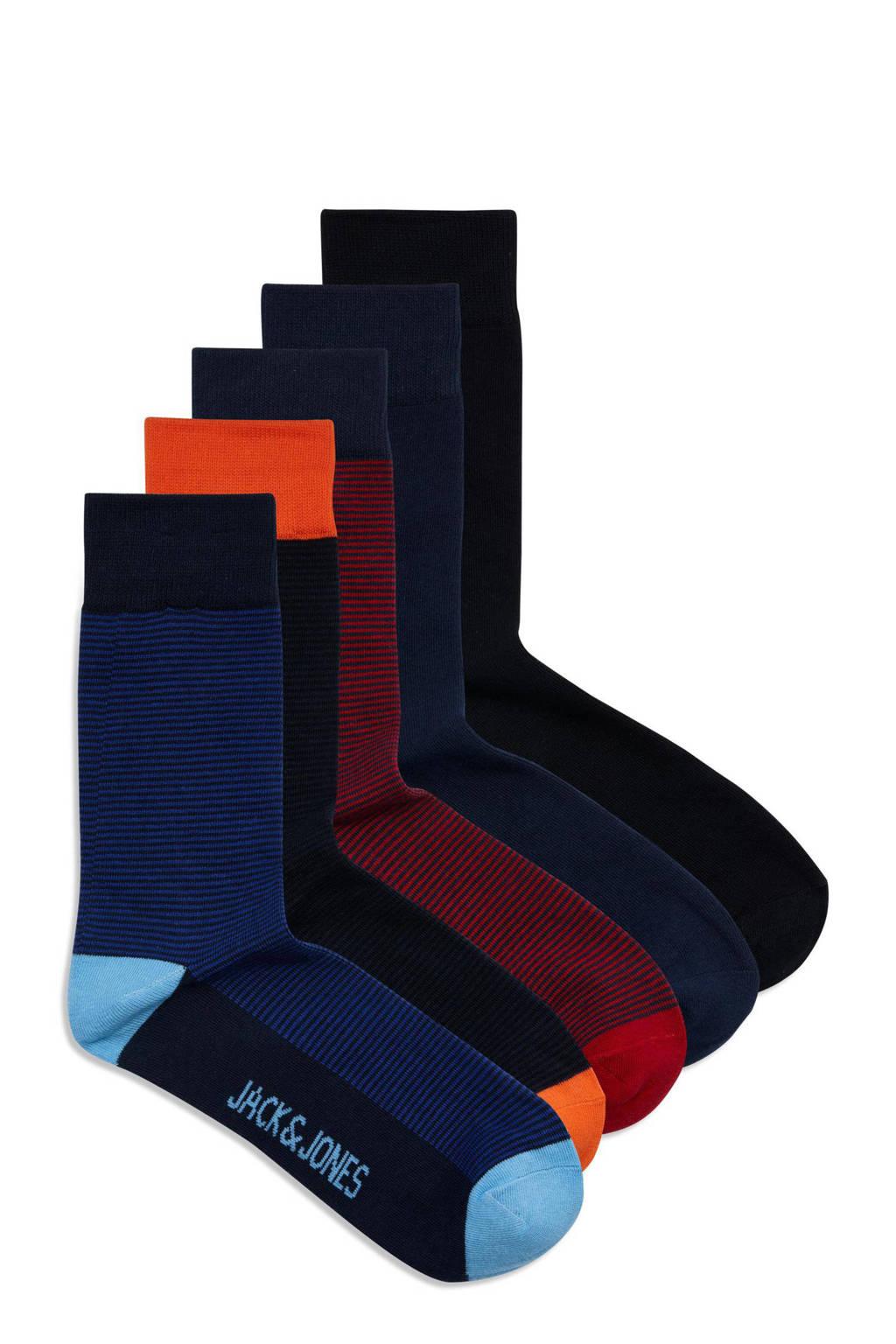 JACK & JONES sokken David - set van 5 zwart/rood, Zwart/rood/blauw