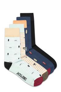 JACK & JONES sokken Poul - set van 5 beige/donkerblauw, Beige/donkerblauw
