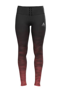 Odlo hardloopbroek zwart/roodbruin, Zwart/roodbruin