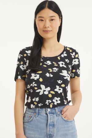 gebloemd T-shirt zwart/blauw/wit