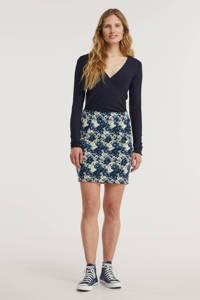 ICHI mini rok Kate met all over print donkerblauw, Donkerblauw