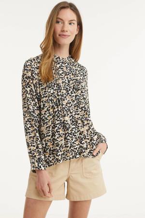 blouse met all over print en plooien wit/beige/zwart