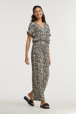 jumpsuit met all over print wit/beige/zwart