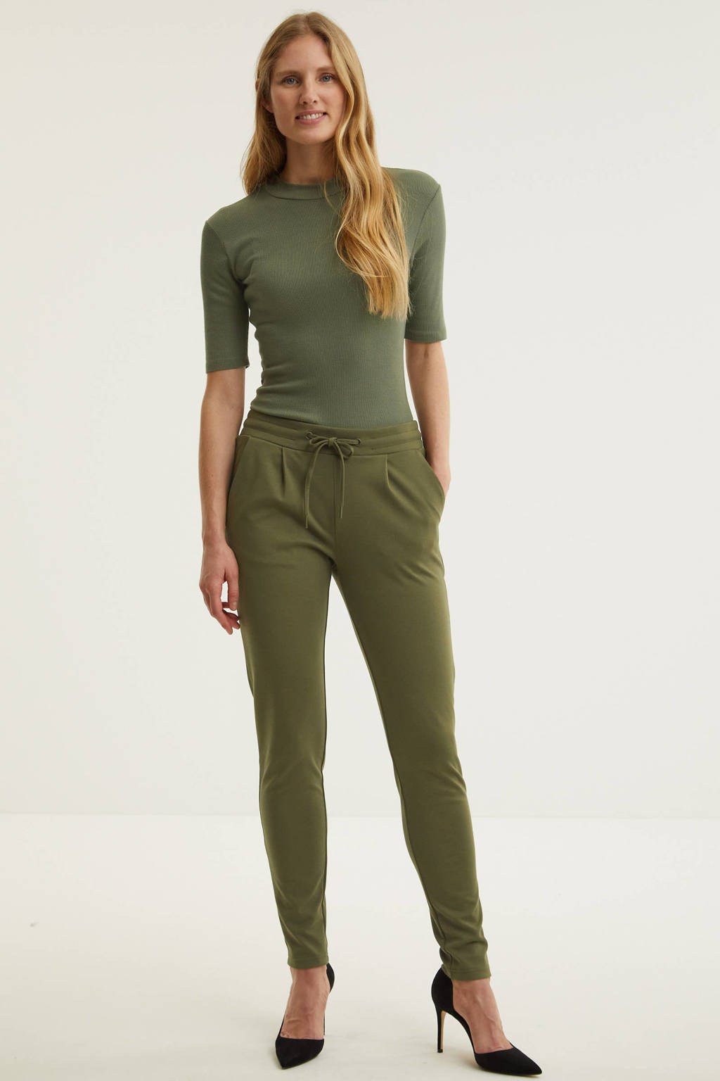 ICHI slim fit pantalon groen, Groen