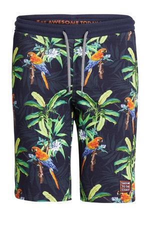 slim fit sweatshort met all over print donkerblauw/groen/oranje