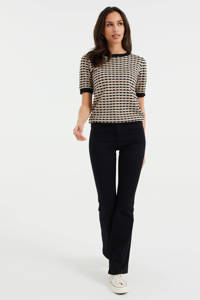 WE Fashion fijngebreide top met all over print zwart/bruin, Zwart/bruin