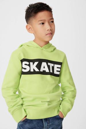 hoodie met tekst limegroen/zwart/wit