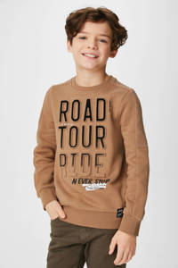 C&A Skate Nation sweater met tekst en 3D applicatie bruin/zwart, Bruin/zwart