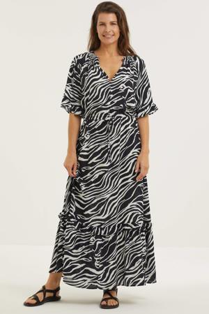 maxi jurk met zebraprint zwart/wit