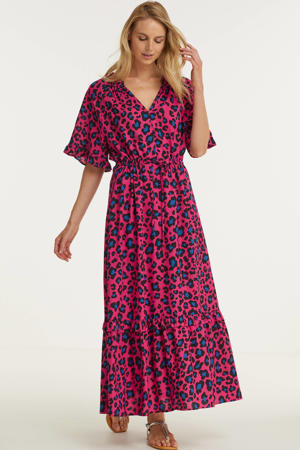 maxi jurk in dierenprint roze/blauw