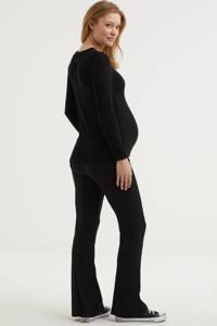 PIECES Maternity low waist flared zwangerschapslegging PCMTOPPY zwart, Zwart