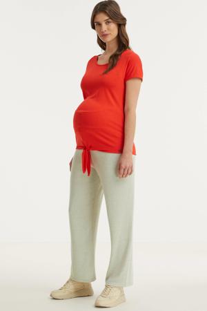 low waist loose fit zwangerschapsbroek Leoda grijs/ecru