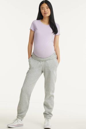 gemêleerde low waist regular fit zwangerschapsjoggingbroek Leda lichtgrijs melange