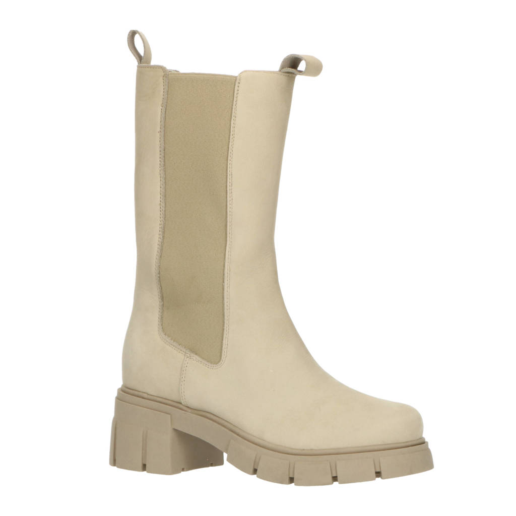 Foot Focus Simma  hoge nubuck chelsea boots beige, Beige/zand