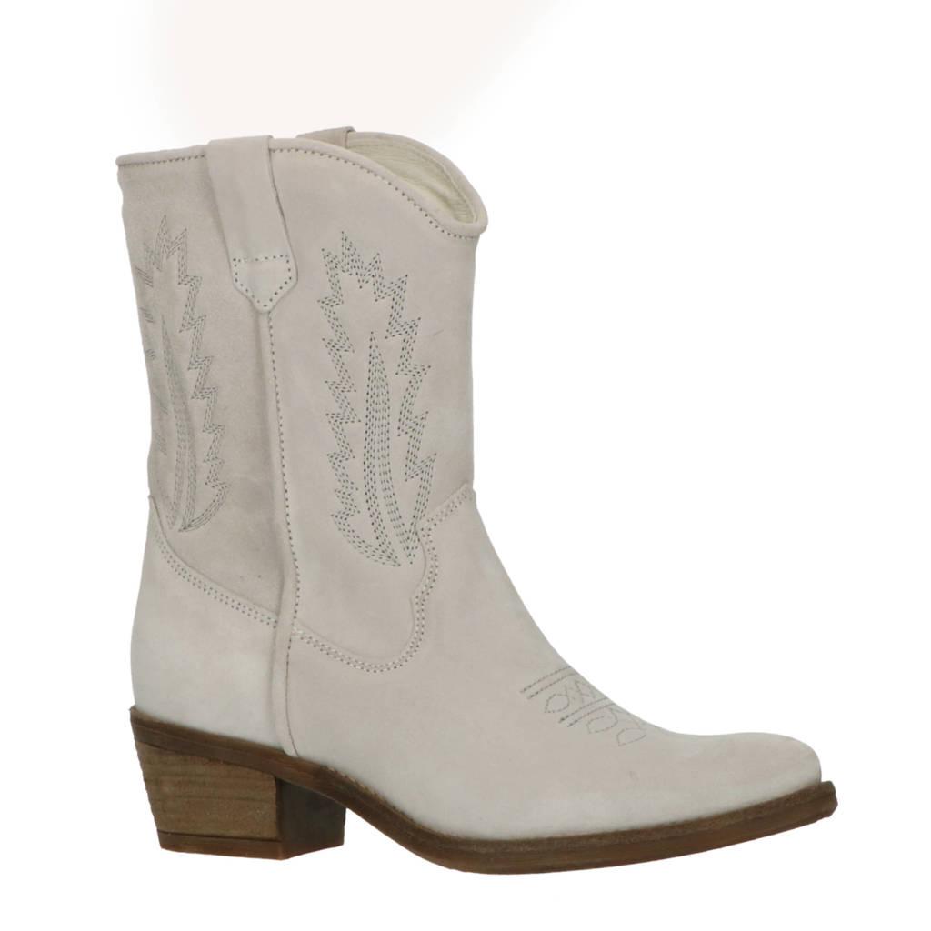 Foot Focus Valery  suède cowboylaarzen lichtgrijs, Lichtgrijs/beige