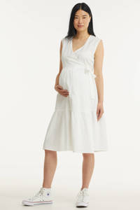 PIECES Maternity zwangerschaps- en voedingsjurk PCMTERETA met plooien wit, Wit