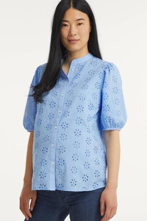 zwangerschapsblouse PCMTILLIE van biologisch katoen blauw