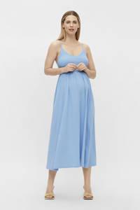 PIECES Maternity zwangerschapsjurk PCMTILY met plooien lichtblauw, Lichtblauw