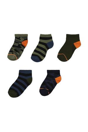 sokken - set van 5 kaki/zwart