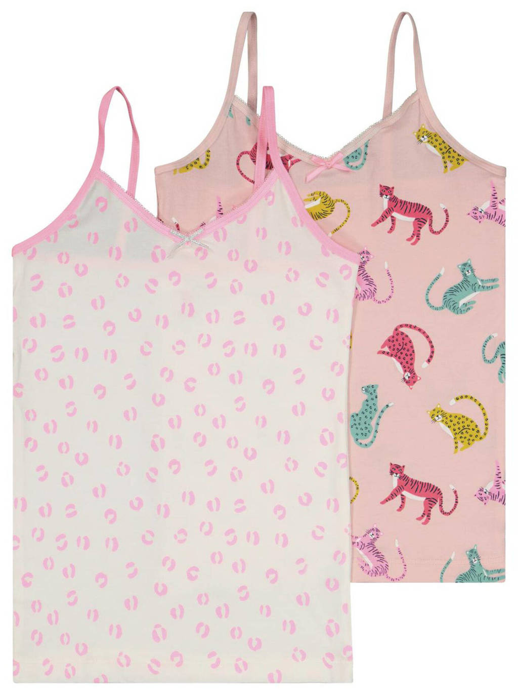 HEMA hemd - set van 2 roze/wit, Roze/wit