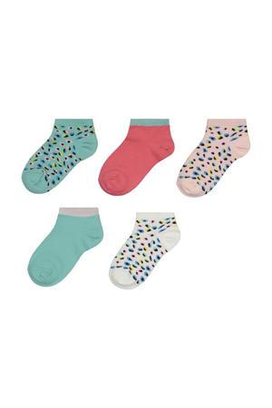 sokken - set van 5 blauw/roze