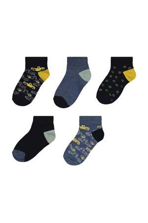 sokken - set van 5 blauw/zwart