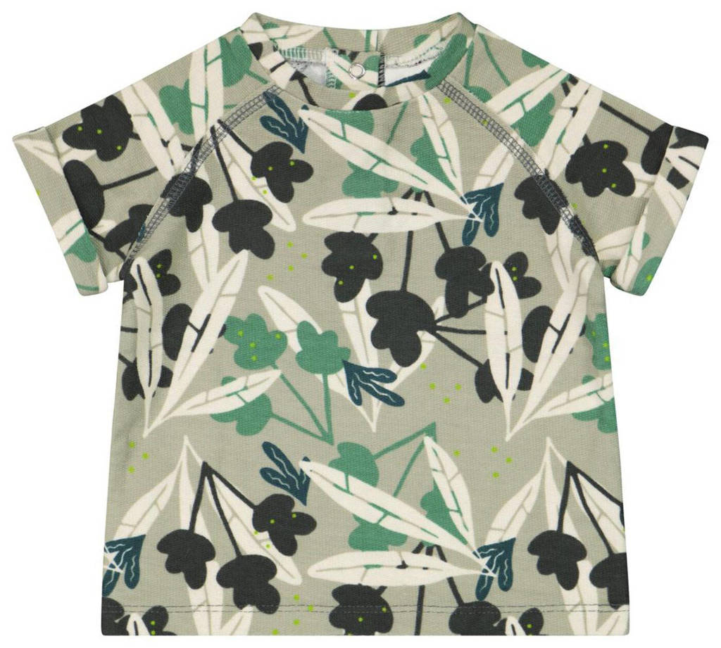HEMA T-shirt met bladprint groen, Groen