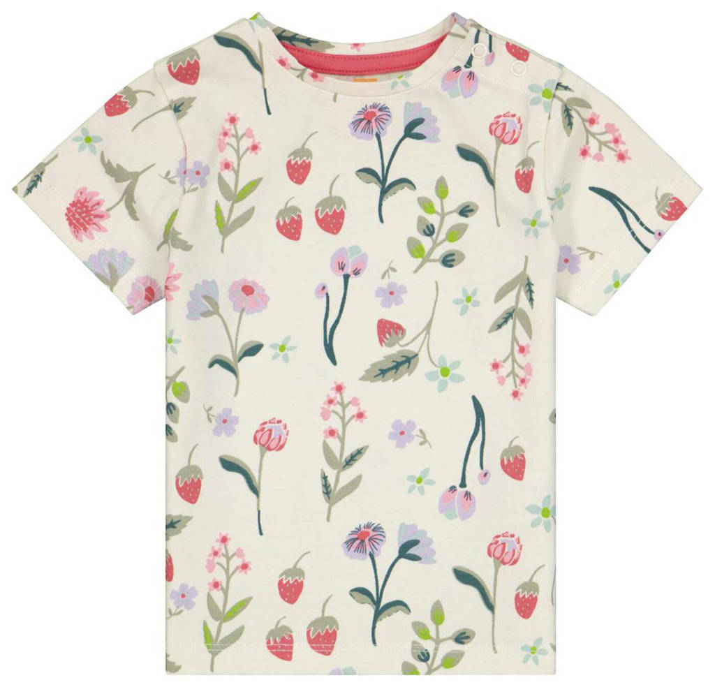 HEMA gebloemd T-shirt ecru/multi, Ecru/multi