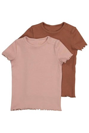 T-shirt - set van 2 bruin/roze