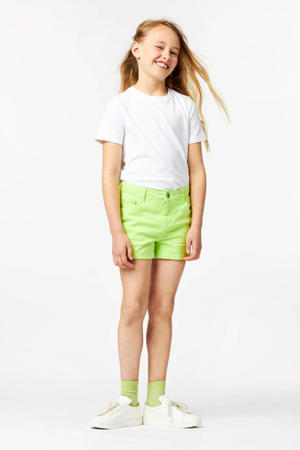 slim fit short neon geel