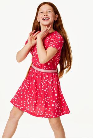 gebloemde jurk Mini Marlo fuchsia/wit