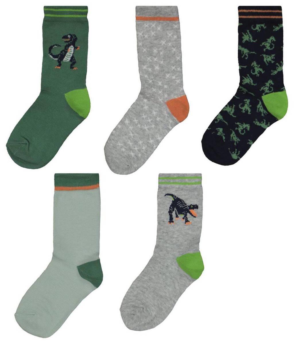 HEMA sokken - set van 5 grijs/groen, Grijs/groen