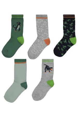 sokken - set van 5 grijs/groen