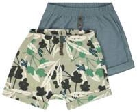 HEMA sweatshort - set van 2 blauwgrijs/groen, Grijsblauw/groen
