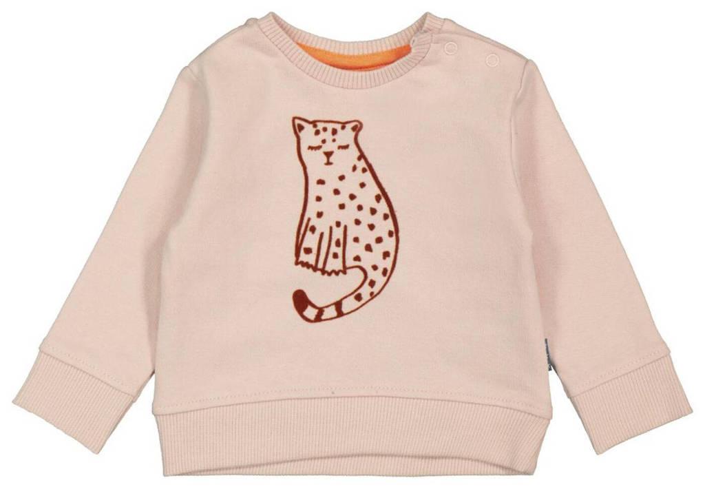 HEMA baby sweater met dierenprint lichtroze, Lichtroze