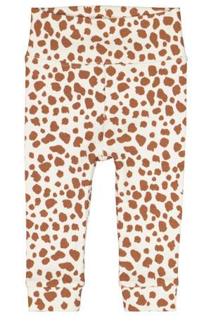 newborn baby slim fit broek met panterprint beige/camel
