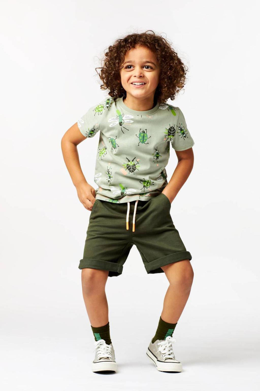HEMA T-shirt met dierenprint groen, Groen