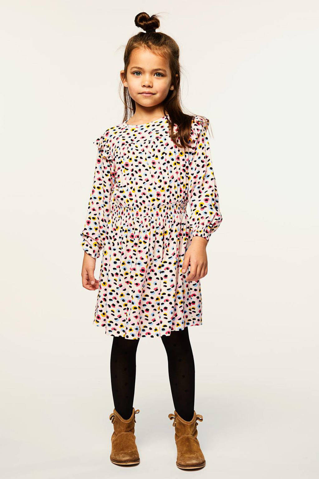 HEMA jurk Dory met all over print lichtroze/zwart/geel/blauw, Lichtroze/zwart/geel/blauw